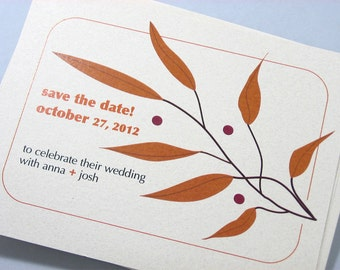 Fall Wedding Save the Date Card Modern Custom Rusty Orange Autumn Leaves Red Berries Recycled