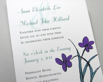 Custom Wedding Invitation Bold Purple Green Flowers Modern