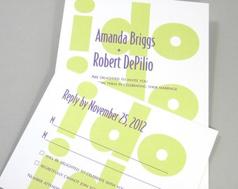 Quirky Wedding Invitation Custom Bold Neon Lime Green Casual Big Type I Do Marriage Vow