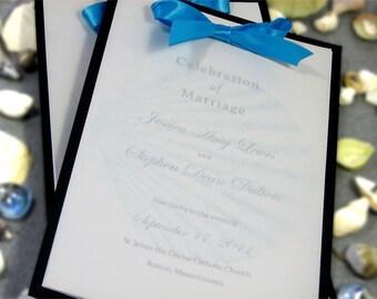 Wedding Program Layered Vellum Ribbon Teal Beach Wedding Shell Ceremony Ocean Sea Side