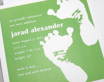 Custom Birth Announcement Bright Green Baby Footprints Shower Invitation Adoption