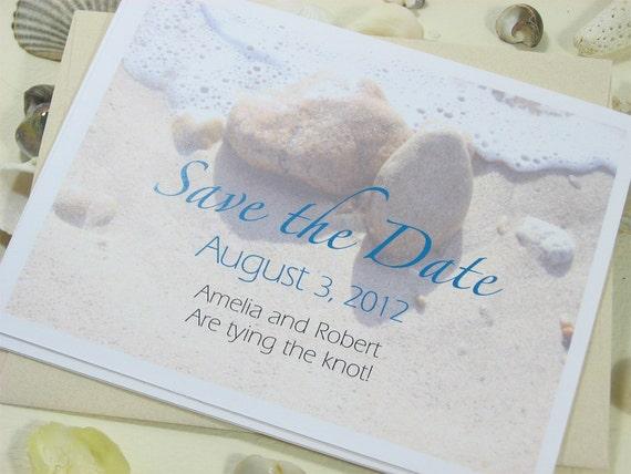 Save the Date Card Beach Wedding Sand Surf Beach Stones Custom Wedding Photo ContemporaryBlue Script Type Seaside Wedding