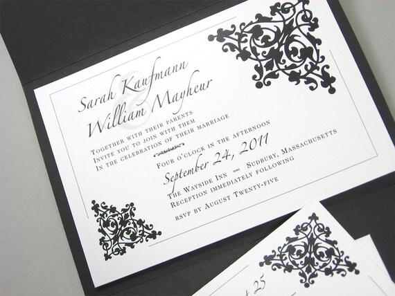 Custom Pocketfold Wedding Invitation Classic Black White Bold Floral Motif Traditional