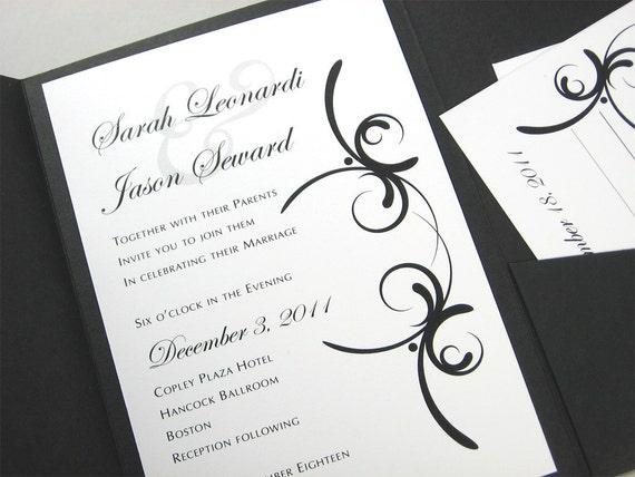 Custom Pocketfold Wedding Invitation Bold Modern Black White Elegant Flourish