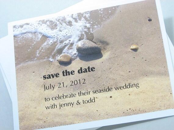 Beach Save the Date Card Tidal Shore Seaside Wedding Sandy Tide Custom Beach Stones Modern Text