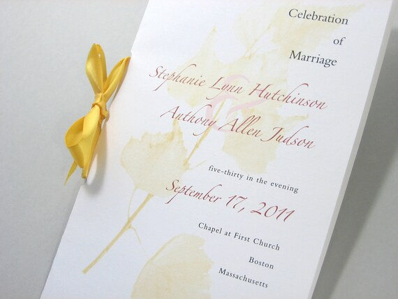 Fall Wedding Program Booklet Sunny Yellow Birch Ribbon Tie Golden Leaves Autumn Wedding