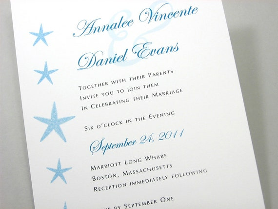 Custom Beach Wedding Invitation Blue Dancing Starfish Traditional Teal Blue Ocean Classic Invite