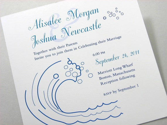 Beach Wedding Invitation Blue Waves Custom Pocketfold Ribbon Wrap Surf Ocean Seaside Wedding