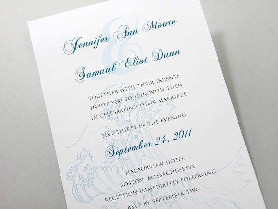 Beach Wedding Custom Invitation Classic Traditional Blue Ocean Wave Vellum Band Seal Monogram Seaside Celebration