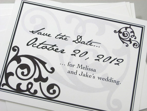 Save the Date Cards Black White Damask Traditional Elegant Classic Wedding Script