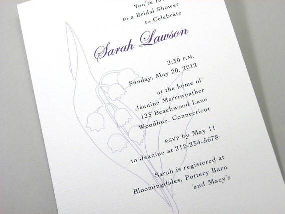 Bridal Shower Invite Lily of the Valley Lavender Flowers Classic Floral Wedding Invitation Purple Floral Classic Traditional