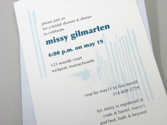 Custom Beach Bridal Shower Invitation Casual Blue Beach Walk Dune Fence Oceanside Wedding Tide