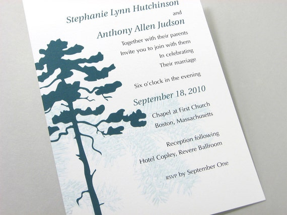 Fall Wedding Invitation Elegant Deep Green Pine Tree Fall Custom Autumn Woodland Invite Green Forest