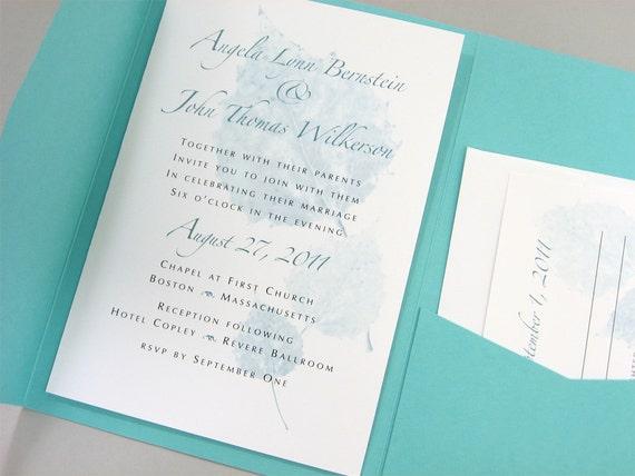 Fall Pocketfold Wedding Invitation Teal Blue Leaves Traditional Autumn Tree Leaf Invite Teal Pocket Three Leaf Design