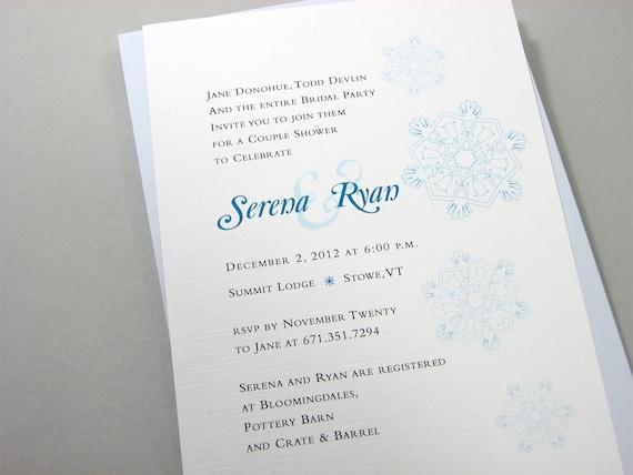 Bridal Shower Invitation Custom Blue Snowflakes Winter Shower Celebration Holiday Bridesmaids