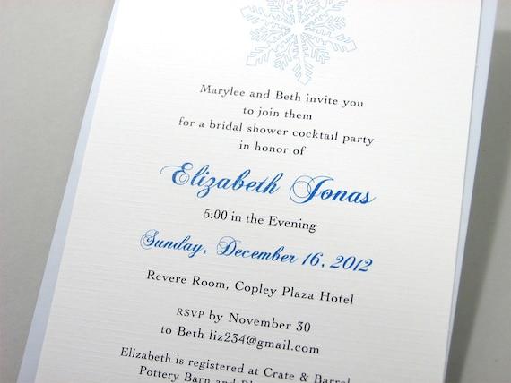 Custom Bridal Shower Invitation Blue Snowflake Traditional Winter Party Bridesmaid