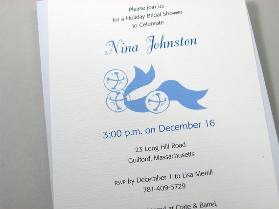 Winter Bridal Shower Invitation Custom Blue Sleigh Bells Holiday Celebration Casual Informal Ribbon Jingle Bell
