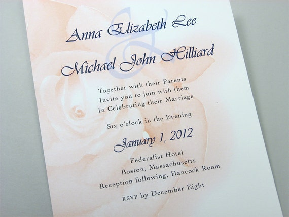 Peach Rose Wedding Invitation Bold Floral Custom Invitation Navy and Peach Invite