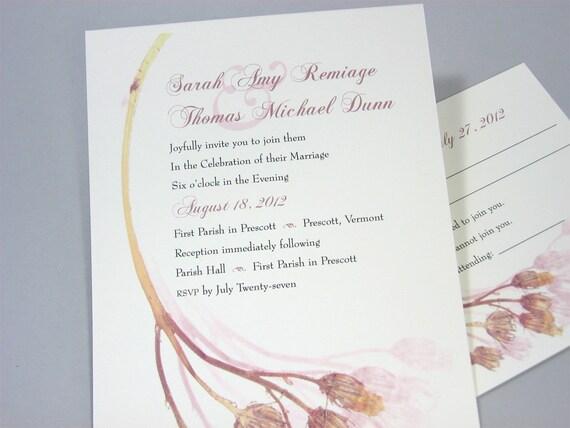 Custom Wedding Invitation Dusty Rose Vintage Pressed Flowers Traditional Classic Romantic Soft Pink