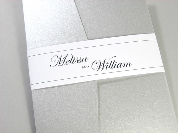 Elegant Wedding Invitation Custom Pocketfold Silver Gray Dainty Lace Traditional Classic Formal Invite