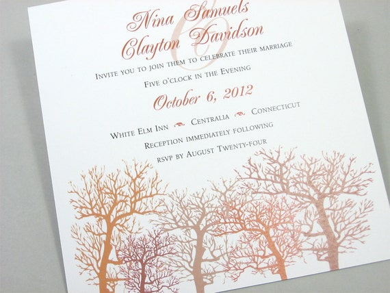 Fall Wedding Custom Invitation Autumn Trees Pocketfold Recycled Raffia Wrap