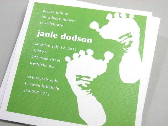 Baby Shower Invitation Custom Bright Green Baby Footprints Birth Adoption Announcement