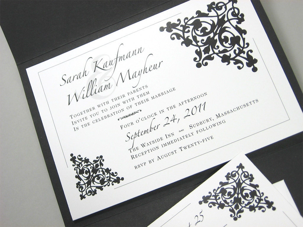 Custom Pocketfold Wedding Invitation Classic Black White Bold