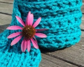 Hand Knitted Wool Scarf, Turquoise