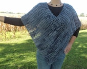 Knitted Poncho/Shawl, bulky virgin wool