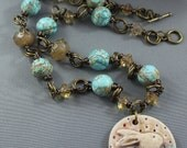 Ceramic Bunny Pendant Necklace with Turquoise and Czech Glass Beads