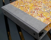 Grey and yellow marbled paper 3-ring binder
