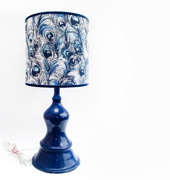 Electric Blue Lamp with Fabric Shade