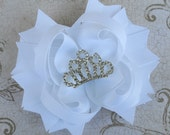 Crown Jewel White Bow - Princess Crown Bow - Layered Boutique Bow
