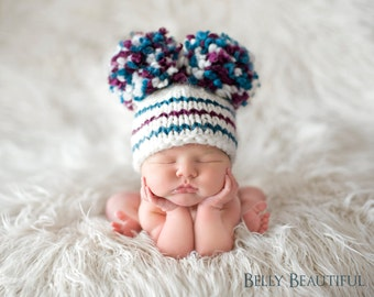 Snow Bunny Pom Hat Knitting Pattern - 7 Sizes Included - PDF Sale - Instant Digital Download