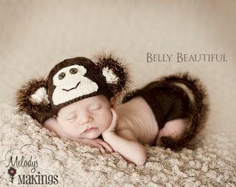 Knitting Pattern - Newborn Photo Prop Pattern - Knit Baby Hat Pattern - Monkey Pattern - Newborn Prop Pattern - Baby Prop Pattern