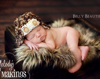 Baby Bush Pilot Hat Knitting Pattern - All Sizes From Newborn through Adult Man Included - PDF Sale