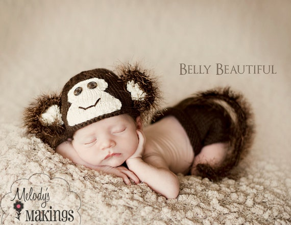 Knitting Pattern - Newborn Photo Prop Pattern - Knit Baby Hat Pattern - Monkey Pattern - Newborn Prop Pattern - Baby Prop Pattern