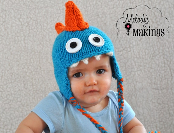 Baby Dinosaur Knitting Pattern : Dinosaur Hat Knitting Pattern - Dino Hat Knitting Pattern - Baby Dino Hat Pat...