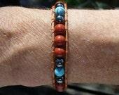 Jasper, Hematite, and Turquoise GemStone Wrap Bracelet