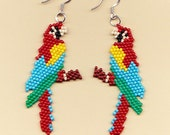 Beaded Macaw Parrot Earrings