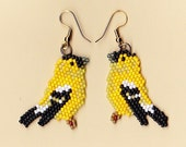 Beaded Gold Finch Earrings