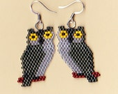 Native American Beaded Grey Owl Earrings