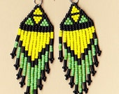 Native American Seed Bead Dangle Earrings