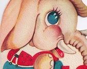 Vintage Birthday Greeting Card for 10 Year Old Child Die-Cut Elephant UNUSED 1950s