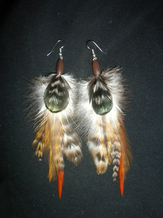 Harmony - All Natural Feather Earrings With Wood Beads