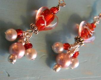Red Heart Lampwork Earrings