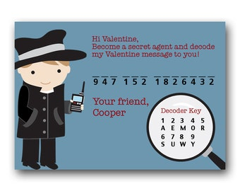 Secret Agent Kids Valentine Card