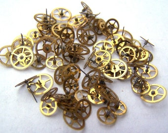 Steampunk Watch Pieces and Parts - 75 small vintage brass watch gears Cogs Wheels