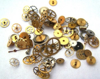 Steampunk Watch Pieces and Parts - 75 small vintage mixed watch gears cogs wheels