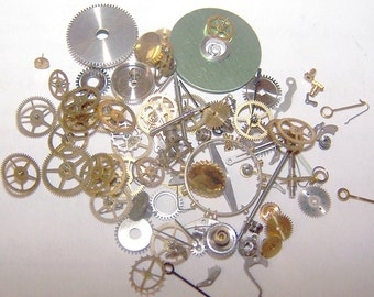Steampunk Watch Pieces and Parts - 75 plus pieces of VINTAGE watch gears, wheels, hands, crowns, stems, etc.